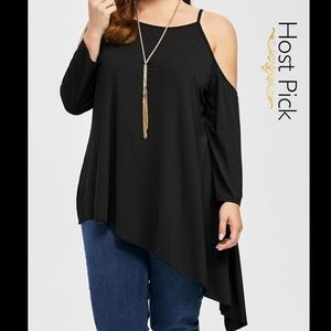 Tops - 2X HP SEXY cold shoulder asymmetrical tunic